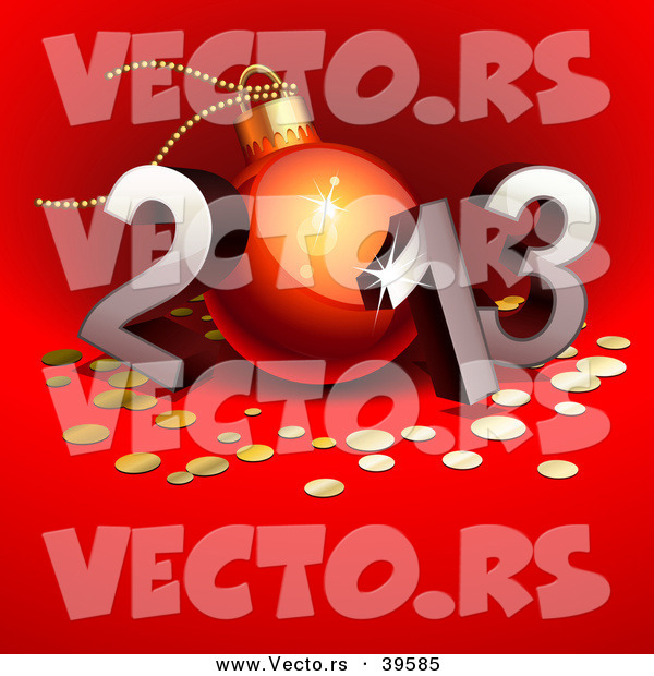 Vector of a 3d 2013 with the 0 Designed As a Christmas Bauble over Red Background