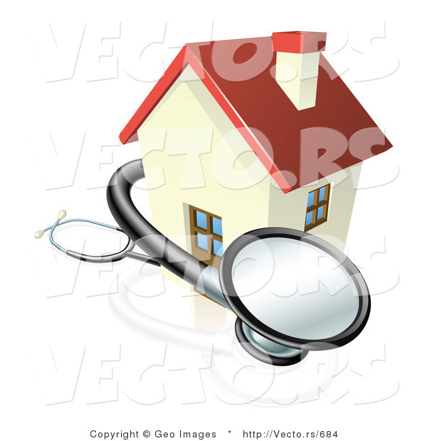 Vector of a 3d Stethoscope Wrapped Around Sick House