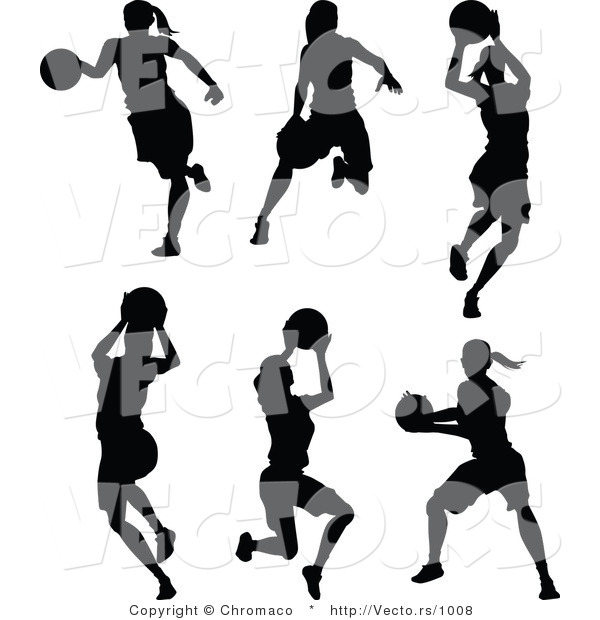 Vector of a 6 Unique Female Basketball Player - Silhouettes