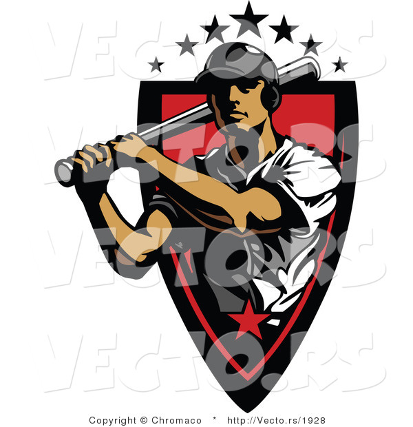Vector of a 7 Star Baseball Player Athlete Holding a Bat Within a Red Badge