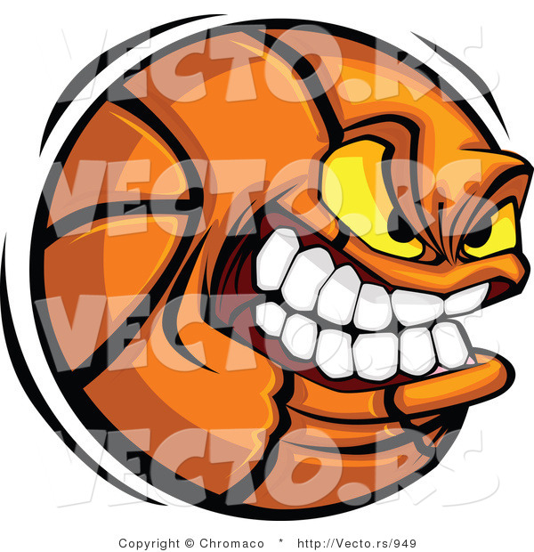 Vector of a Aggressive Basketball Mascot Gritting His Teeth