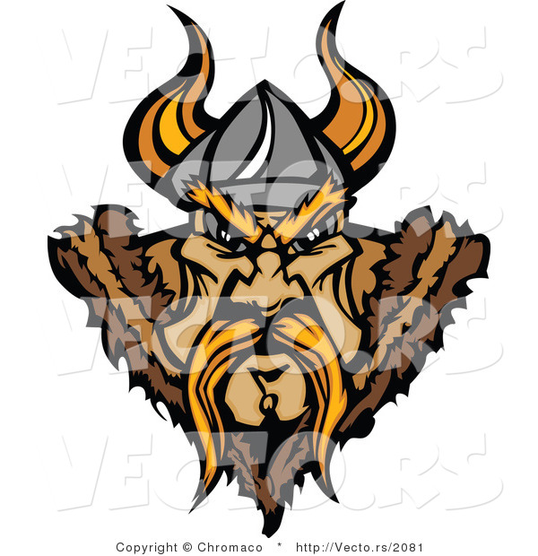 Vector of a Aggressive Viking Warrior Staring with Intimidating Eyes