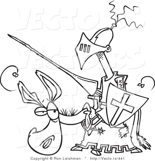 Vector Of A Amateur Cartoon Knight On A Donkey