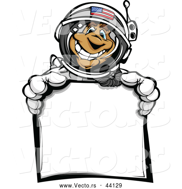 Vector of a American Cartoon Astronaut Holding a Blank Sign