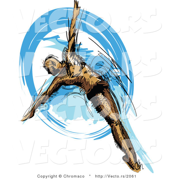 Vector of a Athletic Male Swimmer Diving into Blue Water