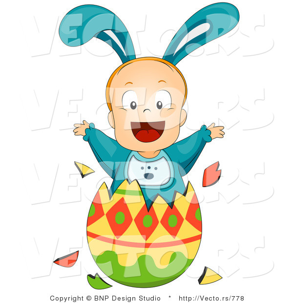 Vector of a Baby Boy Bunny Jumping out of Easter Egg