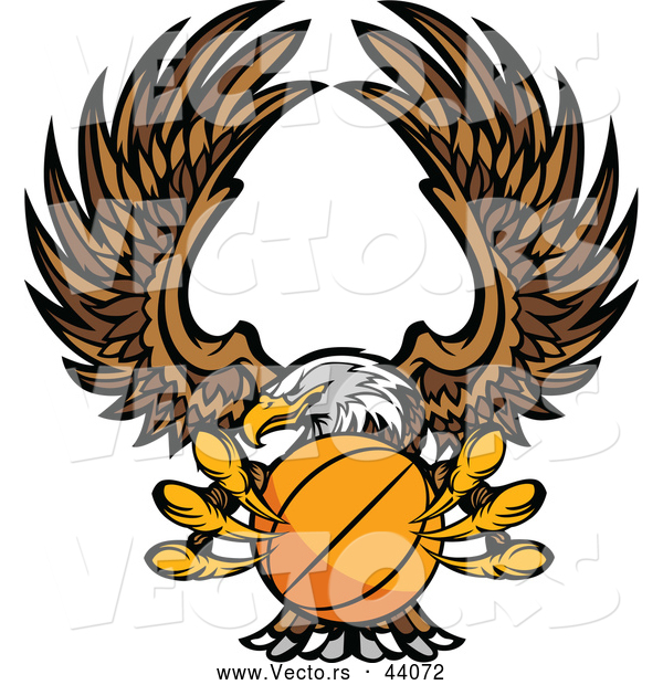 Vector of a Bald Eagle Flying with a Basketball Within Its Talons