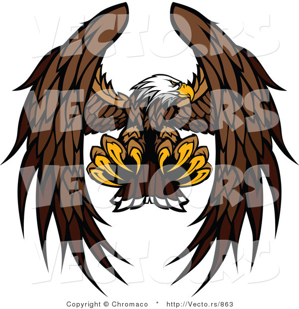 Vector of a Bald Eagle Mascot Reaching out with Talons During Flight