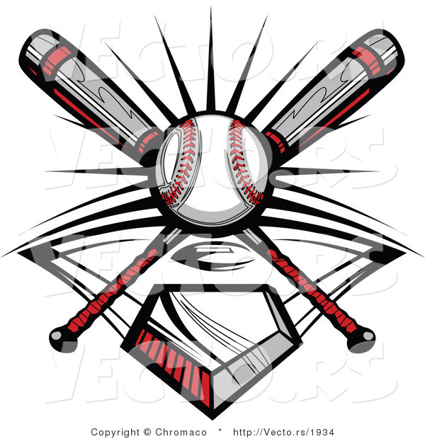 Vector of a Ball and 2 Baseball Bats Crossed over Home Plate