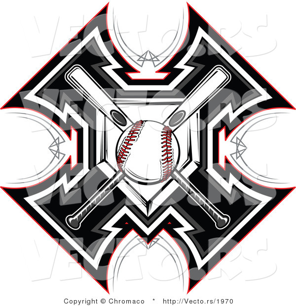 Vector of a Ball Centered over 2 Crossed Baseball Bats and Home Plate