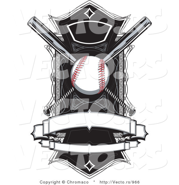 Vector of a Baseball and Bats over a Field with Blank Banners