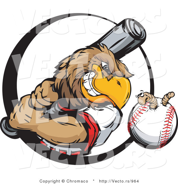 Vector of a Baseball Eagle Mascot Swinging Bat at Earthworm in Ball