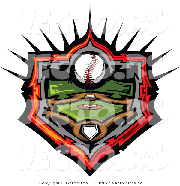 Vector of a Baseball Field and Ball Withing Home Plate Icon Outline with Flaming Red