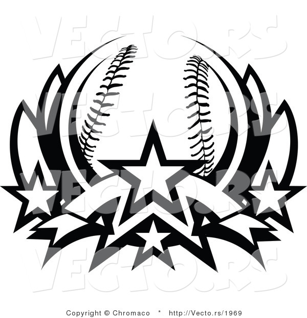 Vector of a Baseball Lotus with 4 Stars - Black and White