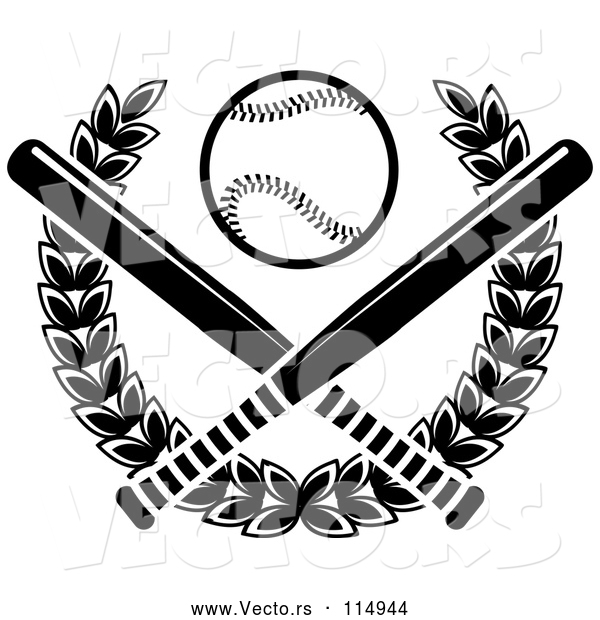 Vector of a Baseball over Crossed Bats and a Laurel Wreath - Black and White