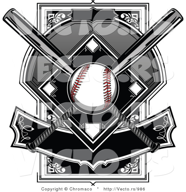Vector of a Baseball over Two Crossed Bats over a Plate with Banner