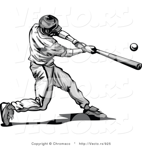 Vector of a Baseball Player Hitting Ball with Bat - Grayscale
