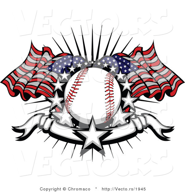 Vector of a Baseball with 2 American Flags and a Banner with Stars