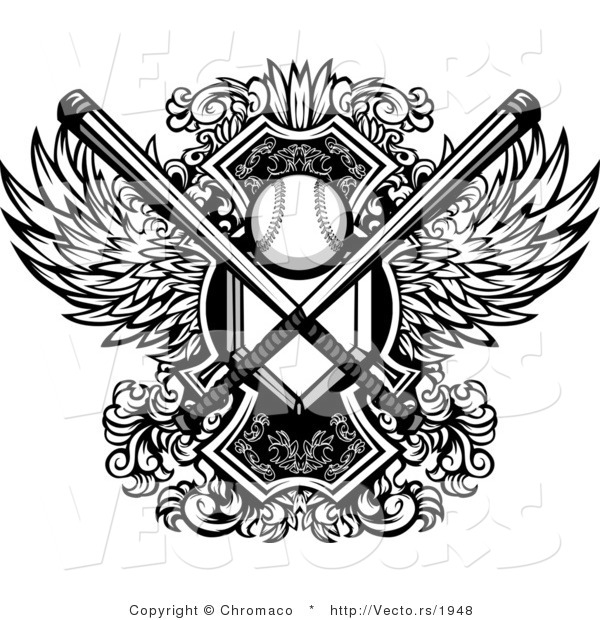 Vector of a Baseball with Crossed Bats and Home Base Plate over a Winged Shield - Black and White