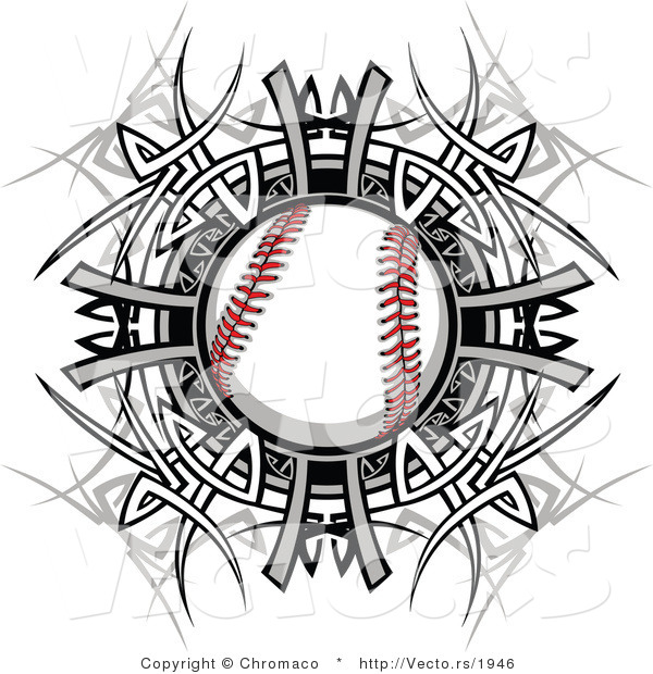 Vector of a Baseball Within Tribal Design