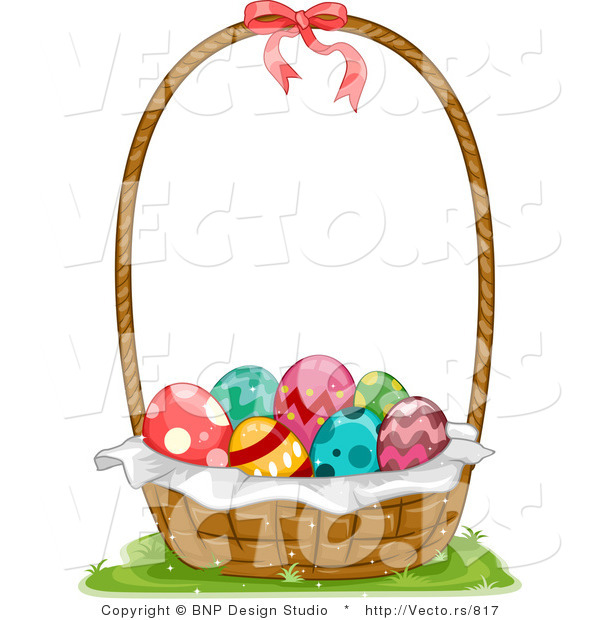 Vector of a Basket Full of Decorated Easter Eggs