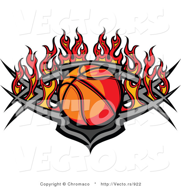 Vector of a Basketball Within a Flaming Tribal Shield Plate