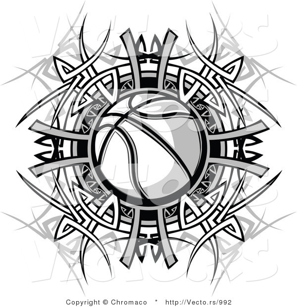 Vector of a Basketball Within Black and White Tribal Design