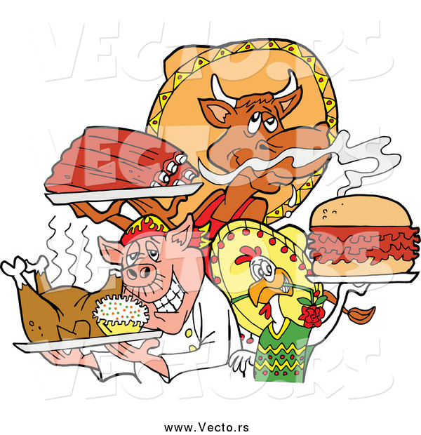 Vector of a BBQ Chef Chicken Pig and Cow Holding Ribs Roasted Bird and Pulled Pork Burger