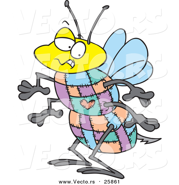 Vector of a Bee with a Quilted Body