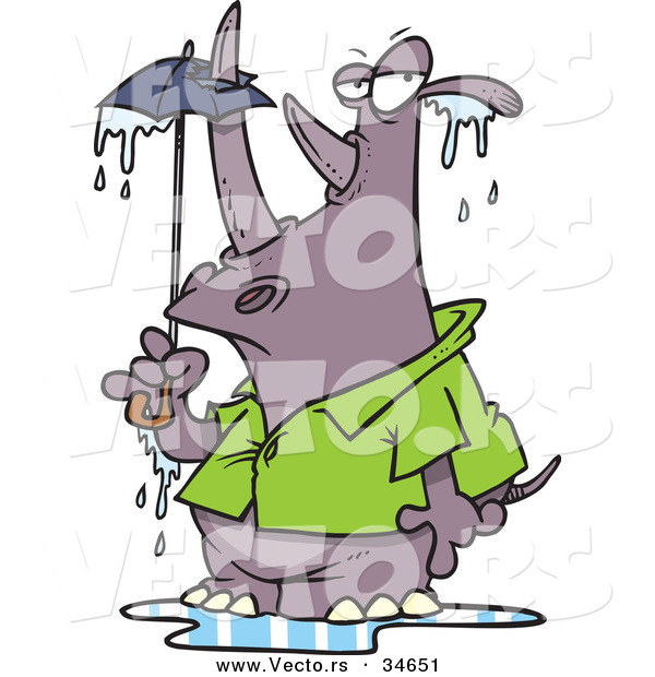 Vector of a Big Cartoon Rhino Standing Under a Tiny Umbrella