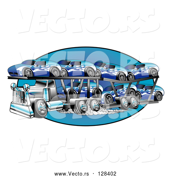 Vector of a Big Rig Transporting New Blue Cars