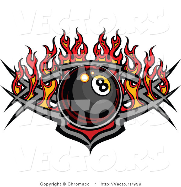 Vector of a Billiards Eight Ball over Tribal Design with Flames