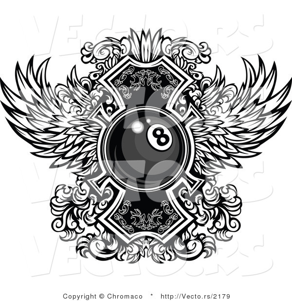 Vector of a Billiards Eight Ball with Ornate Wings Design - Black and White