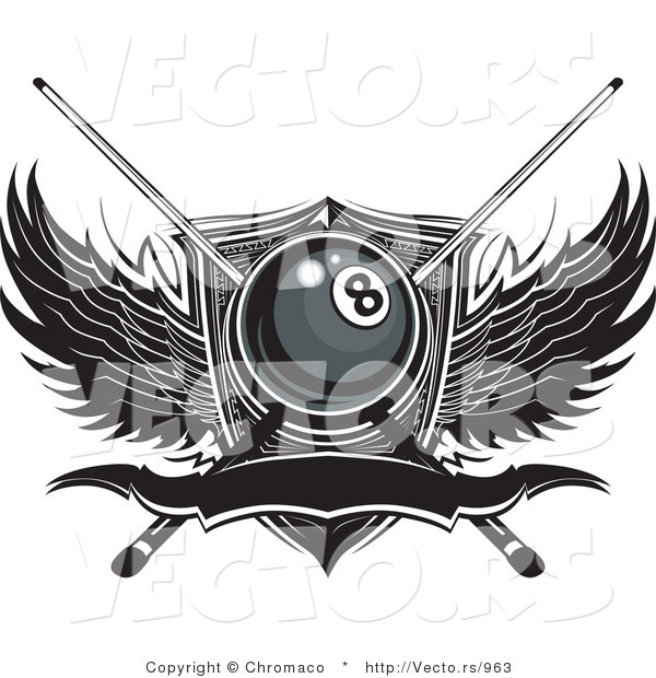 Vector of a Billiards Number Eight Ball with Pool Sticks over Wings and Blank Banner