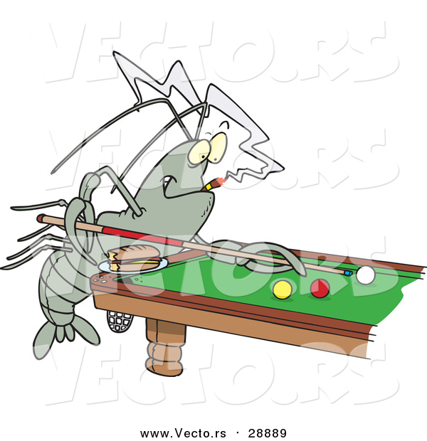 Vector of a Billiards Playing Crawdad - Cartoon Style