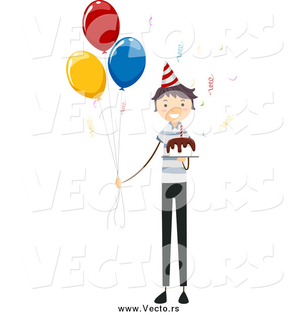 Vector of a Birthday Boy with a Cake and Party Balloons