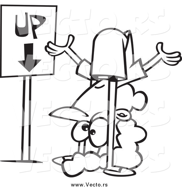 : Vector of a Black and White Confused Woman by an up down Sign