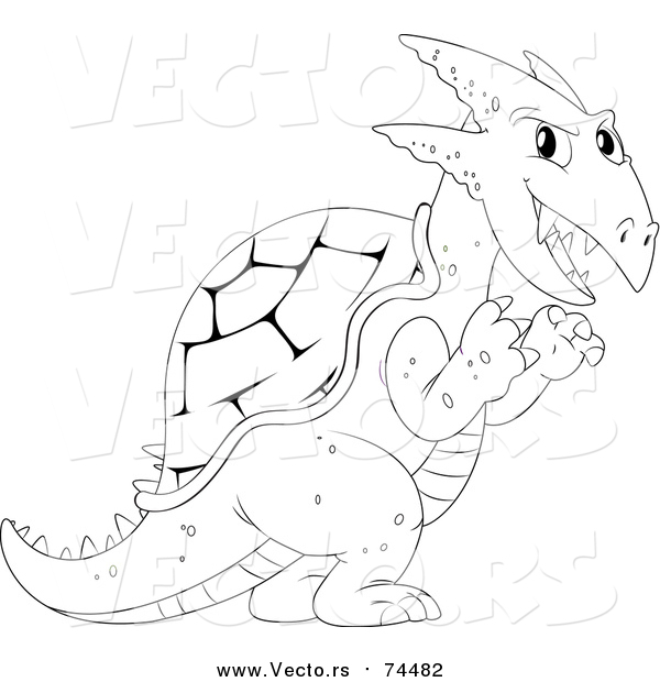 Vector of a Black and White Dragon