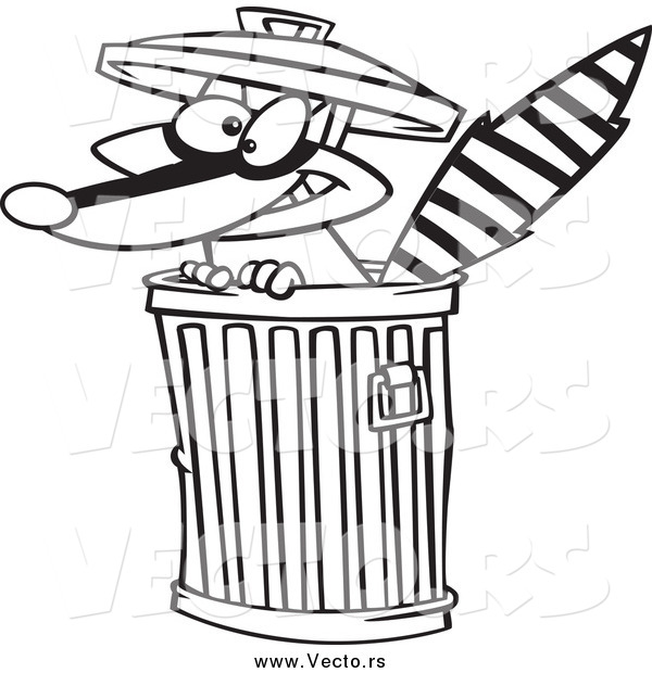 Vector of a Black and White Raccoon in a Trash Can