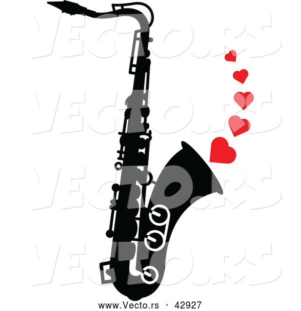 Vector of a Black and White Saxophone with Playing Musical Love Hearts
