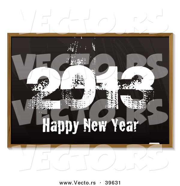 Vector of a Black Board Background with Grungy 2013 Happy New Year in Chalk