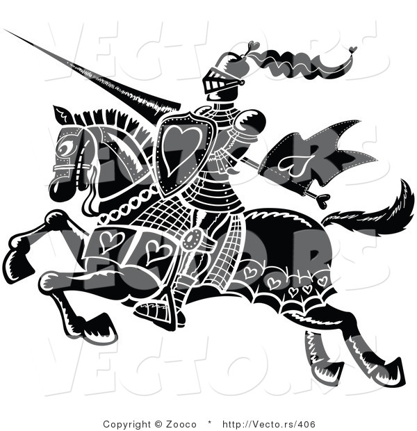 Vector of a Black Knight Jousting with Love Hearts