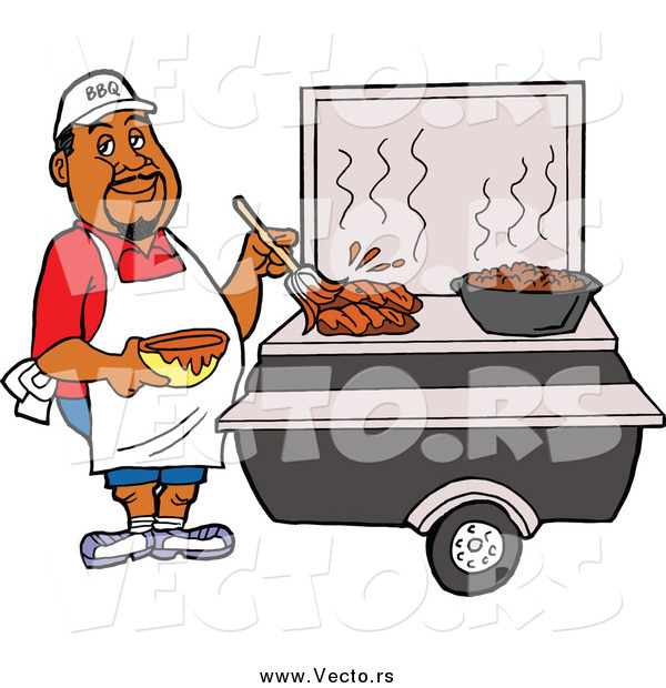 Vector of a Black Male Chef Brushing BBQ Sauce over Meat on a Grill