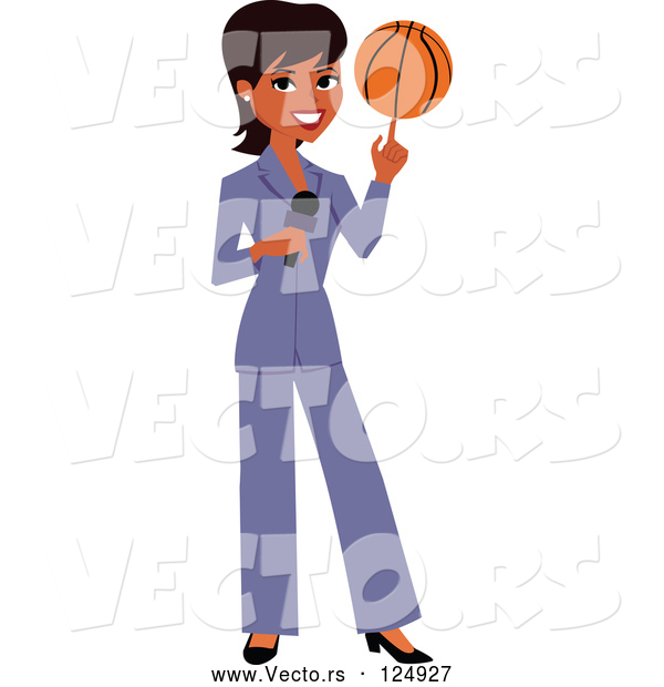 : Vector of a Black News Reporter Woman Spinning a Basketball on Her Finger