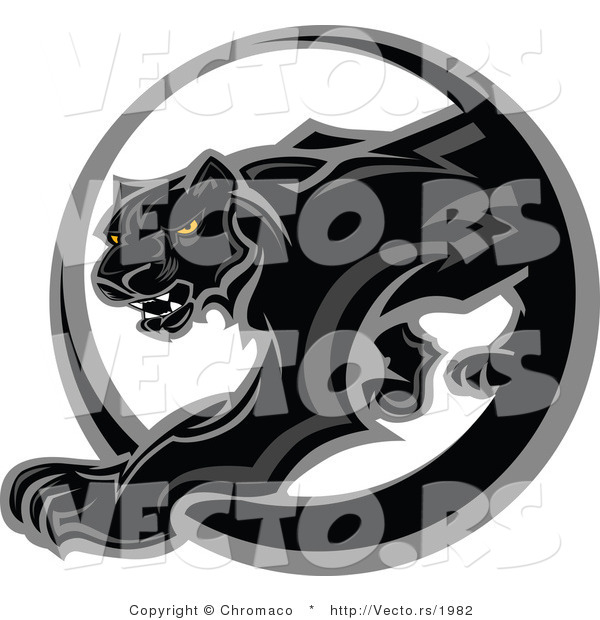 Vector of a Black Panther Walking Through a Circle Icon