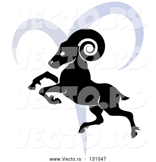 Vector of a Black Ram over a Blue Aries Astrological Sign of the Zodiac