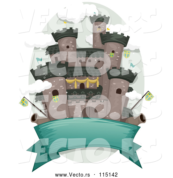 Vector of a Blank Banner Under a Medieval Castle with Flags and Cannons