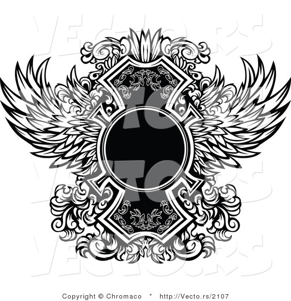 Vector of a Blank Circle Within Ornate Black and White Wings Design