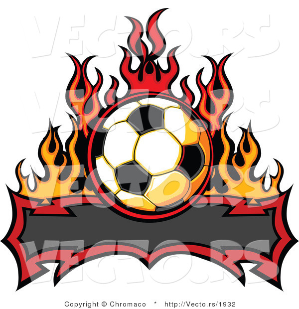 Vector of a Blank Tribal Banner Below Soccer Ball with Flames