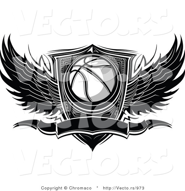 Vector of a Blank Winged Basketball Banner over Shield - Black and White